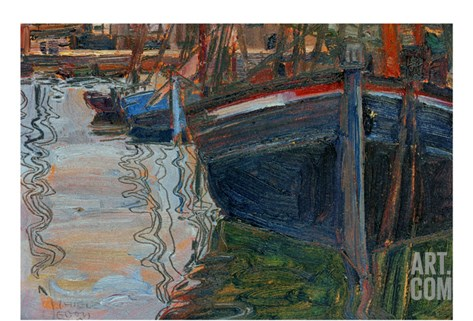 Boats Mirrored in the Water, 1908 Stretched Canvas Print
