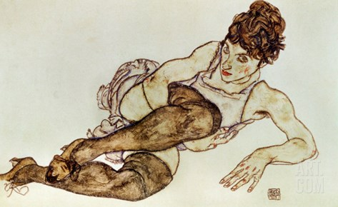 Reclining Woman with Black Stockings, 1917 Stretched Canvas Print