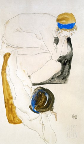 Two Reclining Figures, 1912 Stretched Canvas Print