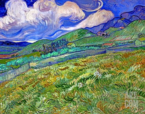 Wheatfield and Mountains, c.1889 Stretched Canvas Print