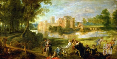 The Palace Garden, circa 1635 Stretched Canvas Print
