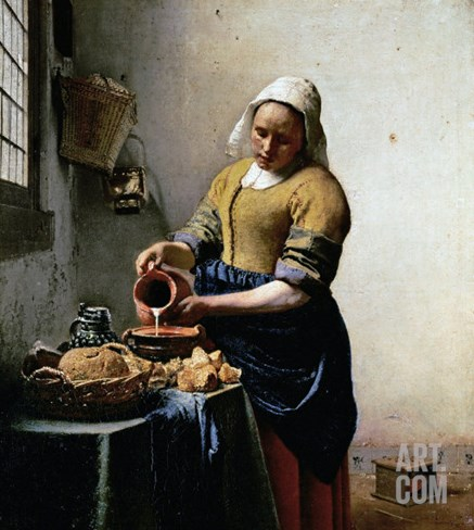 The Milkmaid, 1658-1660 Stretched Canvas Print