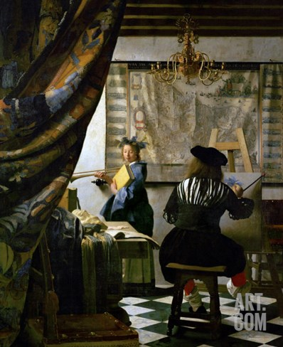 The Painter (Vermeer's Self-Portrait) and His Model as Klio Stretched Canvas Print