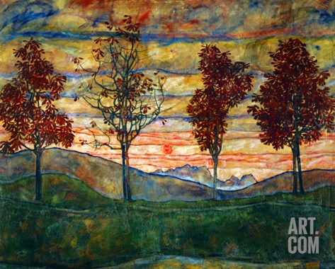 Four Trees, 1917 Stretched Canvas Print