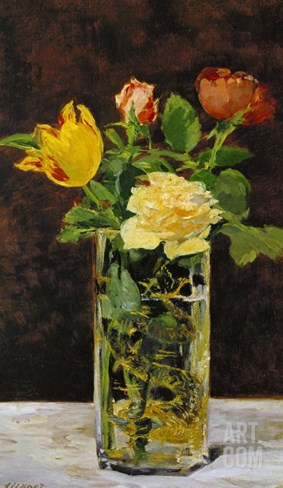 Roses and Tulips, 1882 Stretched Canvas Print
