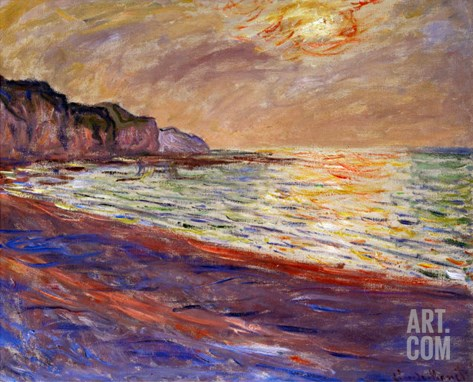 Beach at Pourville, Sunset, 1882 Stretched Canvas Print