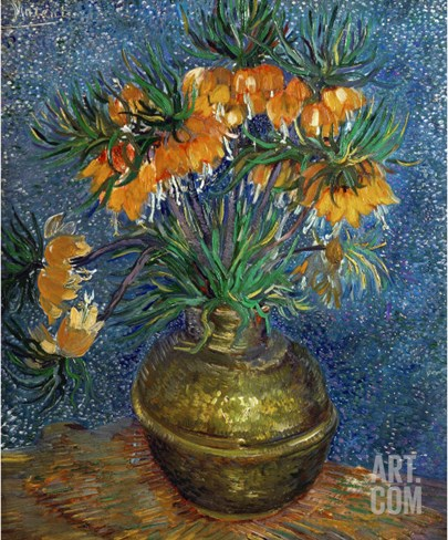 Crown Imperial Fritillaries in a Copper Vase, c.1886 Stretched Canvas Print