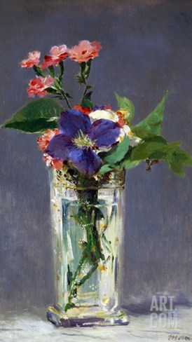 Carnations and Clematis in a Crystal Vase, 1882 Stretched Canvas Print