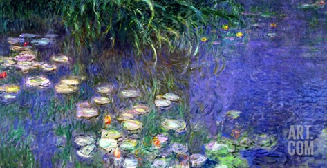 Waterlilies (Les Nympheas), Study of the Morning Water Stretched Canvas Print