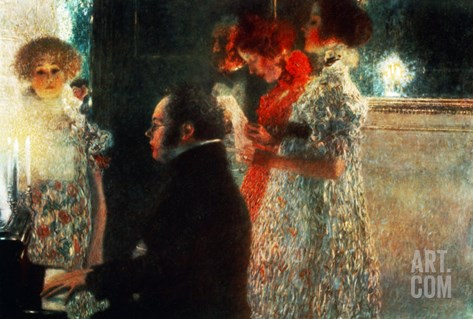 Schubert at the Piano, 1899 Stretched Canvas Print