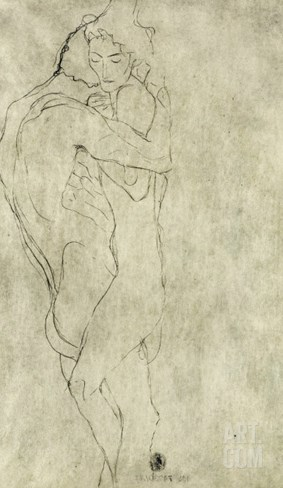 Lovers, Black Crayon (1908) Stretched Canvas Print