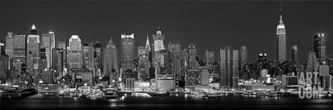 West Side Skyline at Night in Black and White, New York, USA Stretched Canvas Print