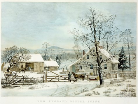 New England Winter Scene, 1861, Currier and Ives, Publishers Stretched Canvas Print