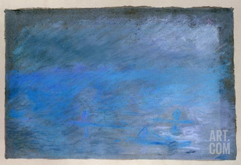 Waterloo Bridge, Brouillard, Pastel on Blue Paper 1901 Stretched Canvas Print