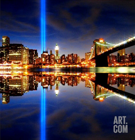 911 Tribute in Lights, NYC Stretched Canvas Print