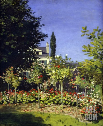 Garden in Bloom, c.1866 Stretched Canvas Print