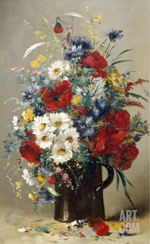 Still Life of Poppies, Daisies and Cornflowers Stretched Canvas Print
