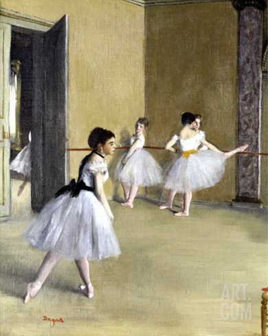 Ballet Room at the Opera in Rue le Peletier, c.1872 Stretched Canvas Print