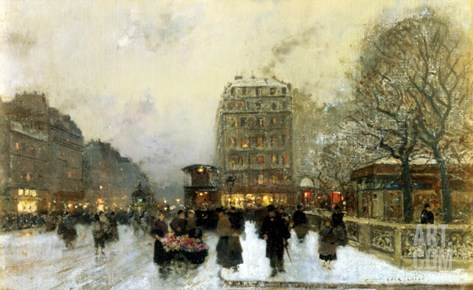 Parisian Street Scene in Winter Stretched Canvas Print