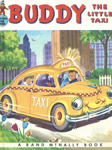 Buddy the Little Taxi Stretched Canvas Print