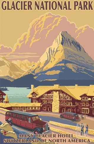 Many Glacier Hotel, Glacier National Park, Montana Stretched Canvas Print