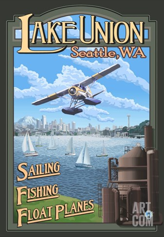 Lake Union Float Plane, Seattle, Washington Stretched Canvas Print
