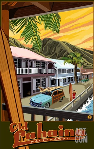 Old Lahaina Fishing Town with Surfer, Maui, Hawaii Stretched Canvas Print