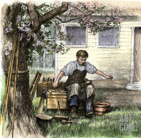 Old-Time Shoemaker Working Outdoors Stretched Canvas Print