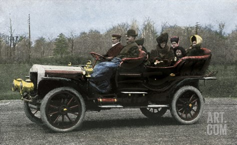 Family Riding in a Steam-Powered White Company Automobile, c.1907 Stretched Canvas Print