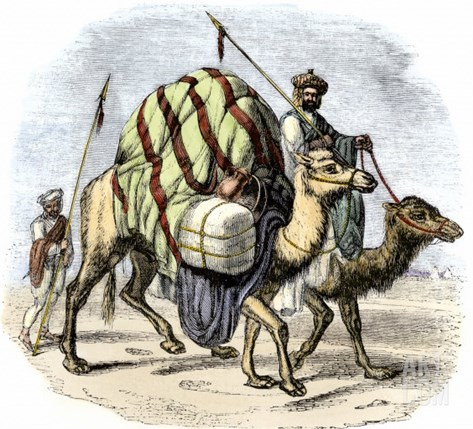 Camel Caravan Loaded with Goods Stretched Canvas Print