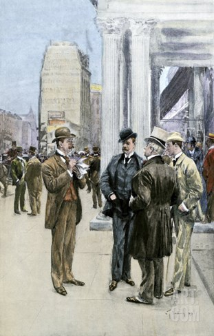 Reporter Interviewing People in the Financial District, New York City, c.1890 Stretched Canvas Print