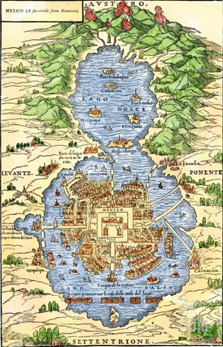Tenochtitlan, Capital City of Aztec Mexico, an Island Connected by Causeways to Land, c.1520 Stretched Canvas Print