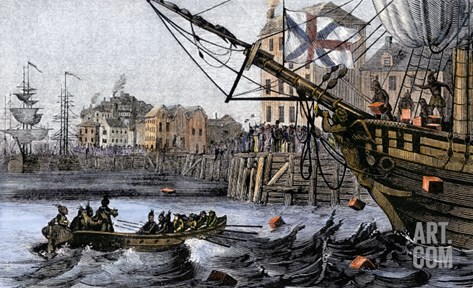 Boston Tea Party, a Protest against British Taxes Before the American Revolution, c.1773 Stretched Canvas Print