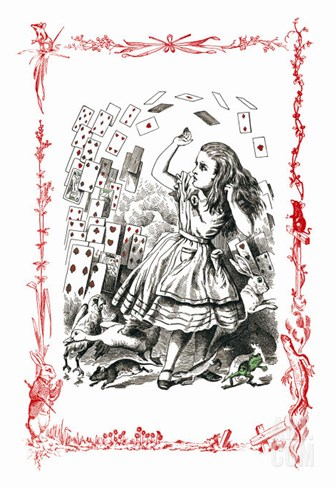 Alice in Wonderland: You're Nothing But a Pack of Cards! Stretched Canvas Print