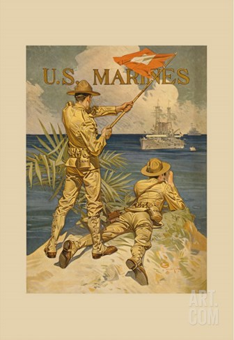 Marines Signaling from Shore to Ships at Sea Stretched Canvas Print