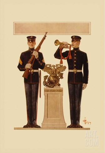 Two Marines Stretched Canvas Print