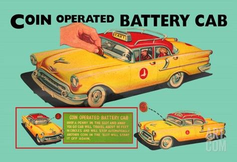 Coin Operated Battery Cab Stretched Canvas Print