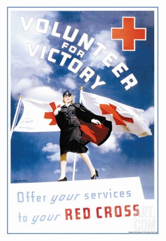 Volunteer for Victory: Offer Your Services to Your Red Cross Stretched Canvas Print