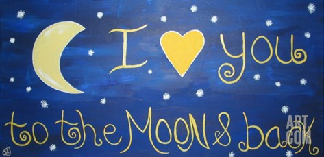 I Love  You To The Moon & Back Stretched Canvas Print