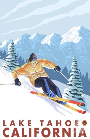 Downhhill Snow Skier, Lake Tahoe, California Stretched Canvas Print