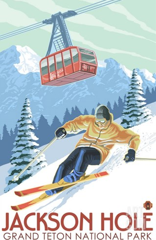 Wyoming Skier and Tram, Jackson Hole Stretched Canvas Print