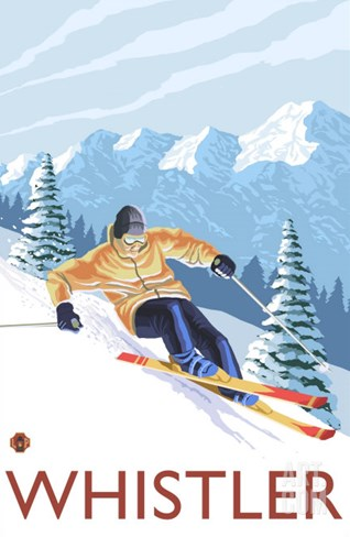 Downhhill Snow Skier, Whistler, BC Canada Stretched Canvas Print