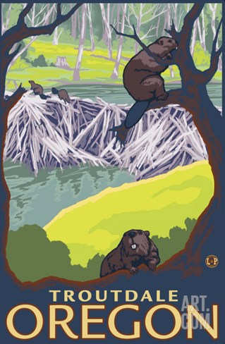 Beaver Family, Troutdale, Oregon Stretched Canvas Print