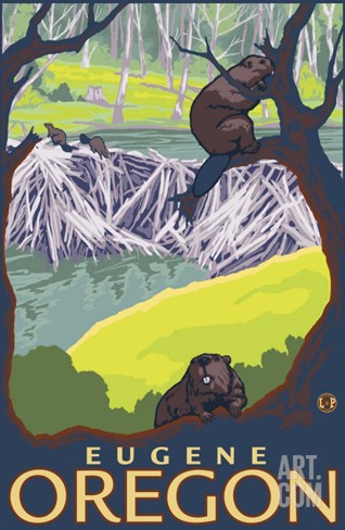 Beaver Family, Eugene, Oregon Stretched Canvas Print