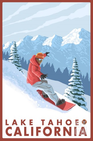 Snowboarder Scene, Lake Tahoe, California Stretched Canvas Print
