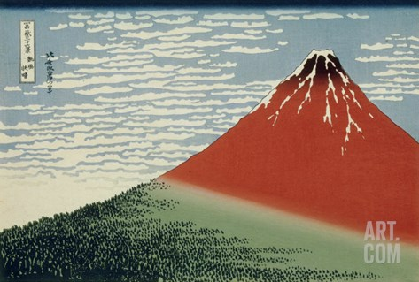 36 Views of Mount Fuji, no. 2: Mount Fuji in Clear Weather (Red Fuji) Stretched Canvas Print