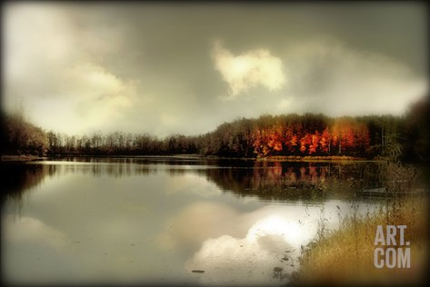 Autumn Lake Stretched Canvas Print