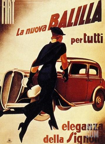 1930's Lady Running Towards Fiat Car, La Nuova Balilla per Tutti Eleganza Della Signora Stretched Canvas Print