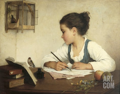 Young Girl Writing at Her Desk with Birds Stretched Canvas Print