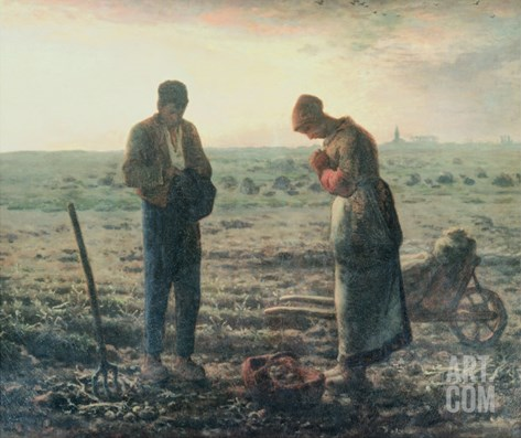 The Angelus, c.1857-59 Stretched Canvas Print